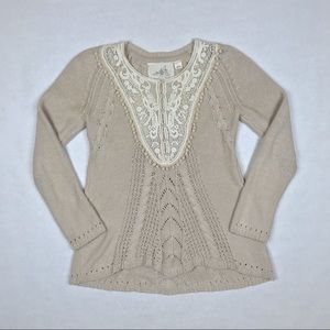 Anthropologie Angel of the North Women Tan Sweater
